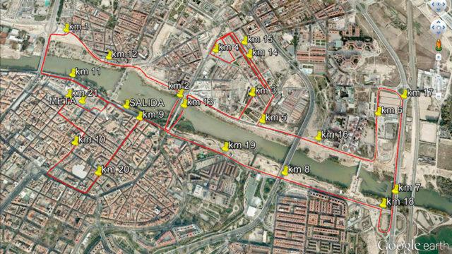 trazado de la media maratón de Zaragoza