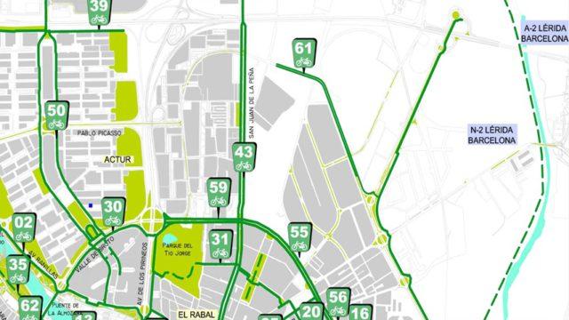 Plano de carriles bici en el que se ve la desconexión entre Alcalde Caballero (62) y San Juan de la Peña (43)