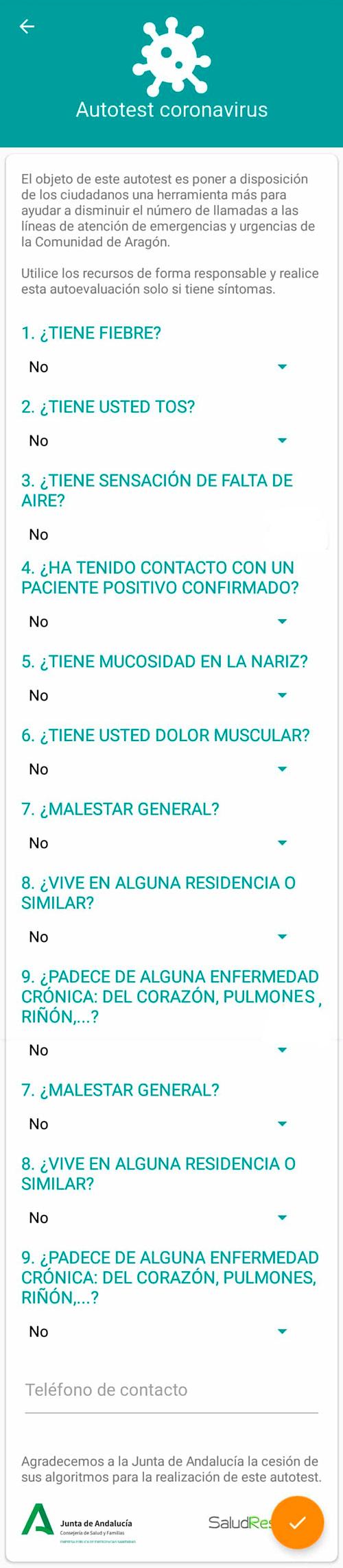Autotest coronavirus Salud Informa