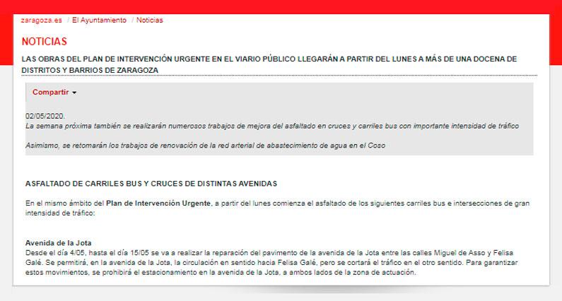 Obras AVda La Jota 04-05-2020